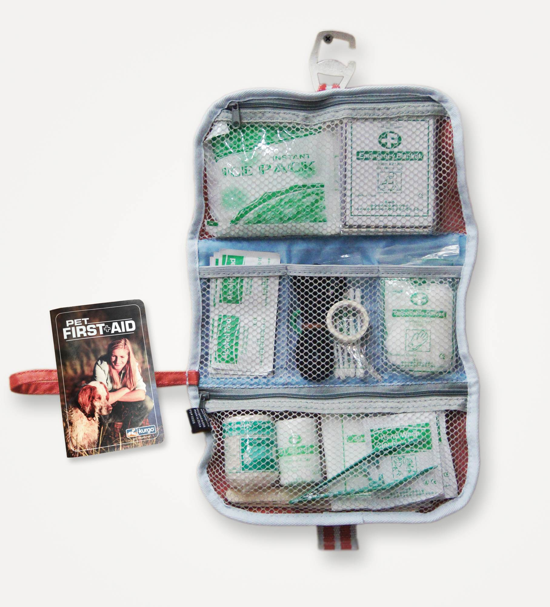 Animal First Aid Kit - Kurgo Pet First Aid Kit hangs from hook for easy access