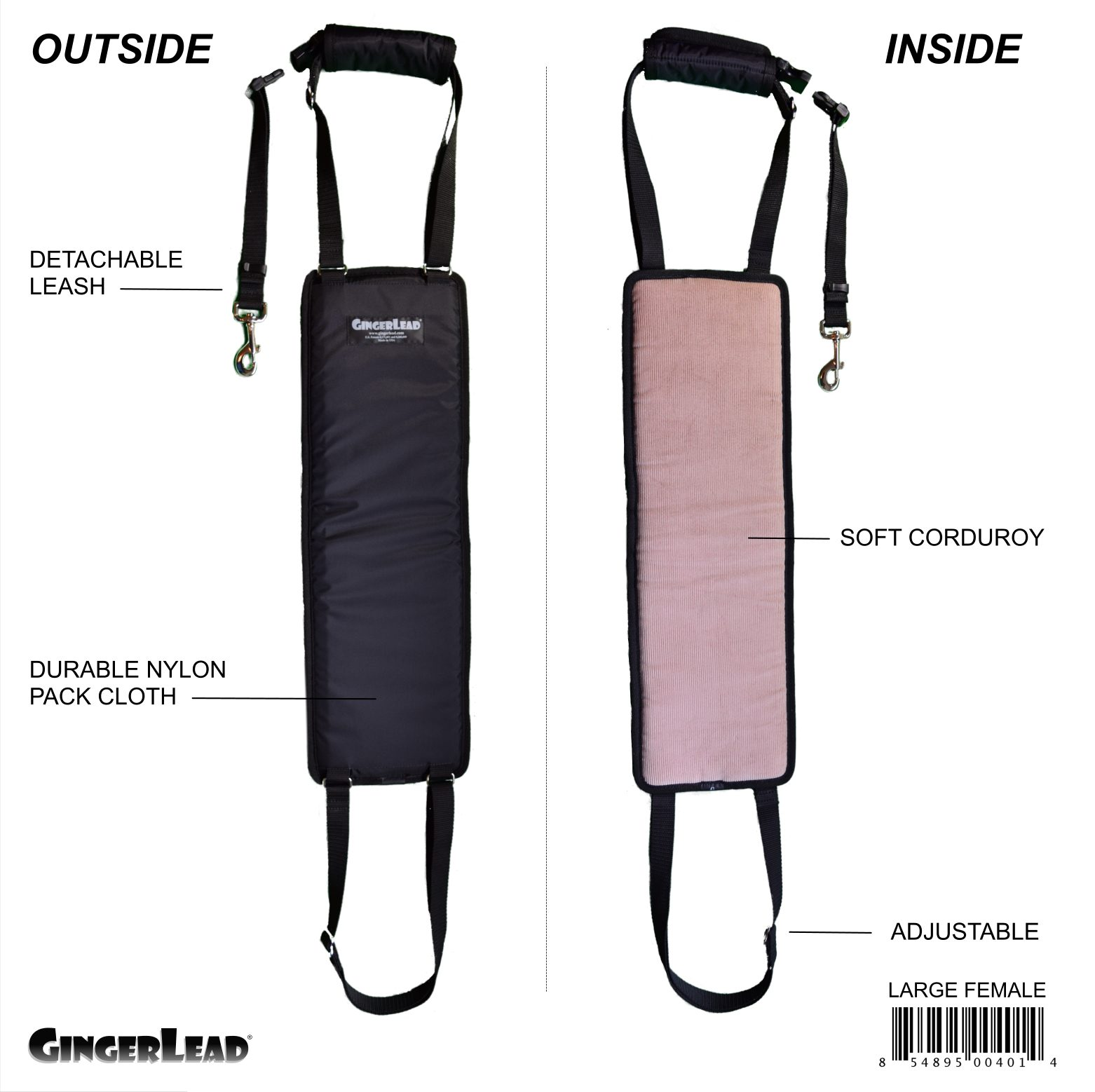 GingerLead Dog Sling - Large Female Size - Out of Box