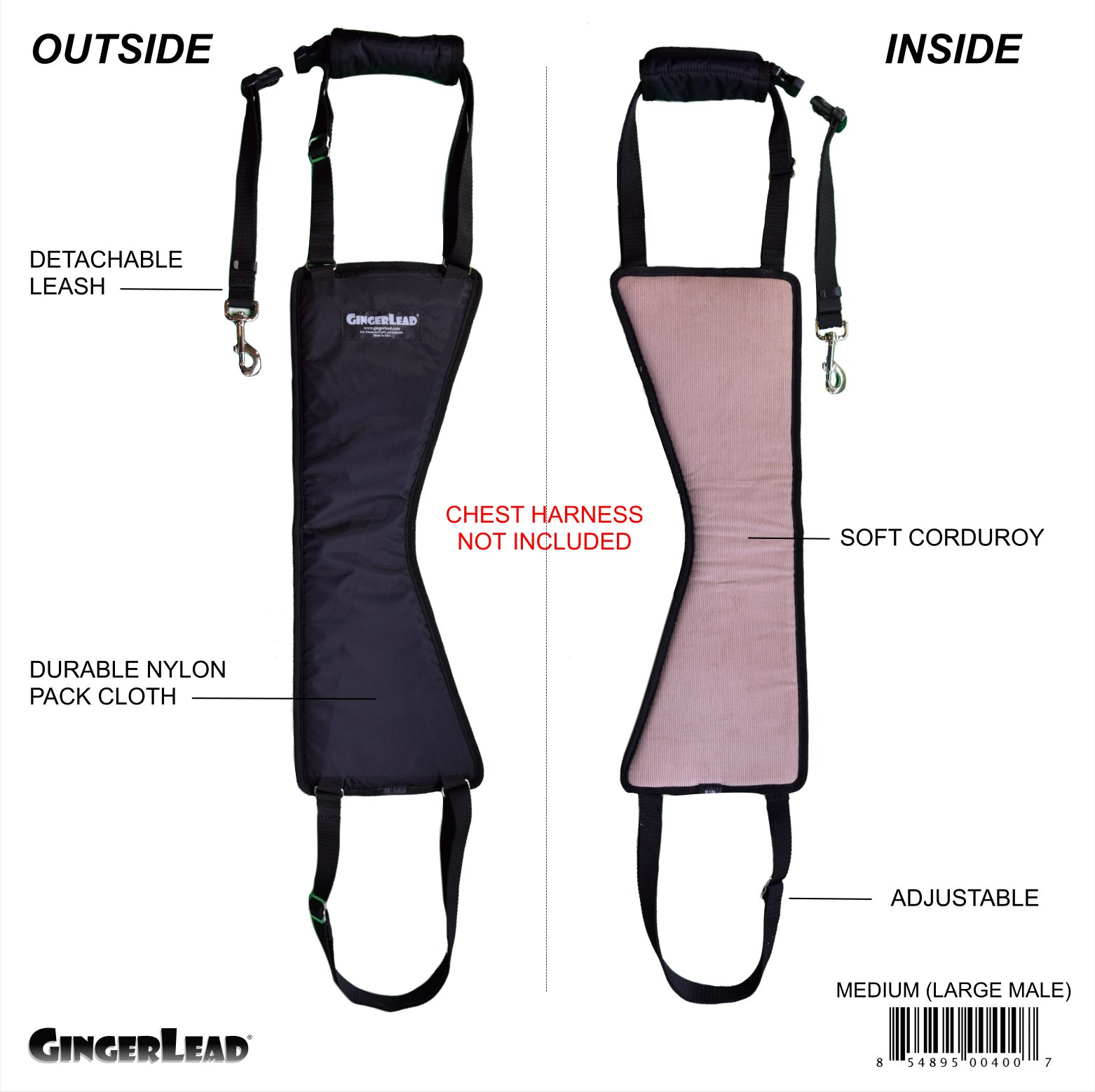 GingerLead Dog Sling, Medium/Large Male Size - Out of Box