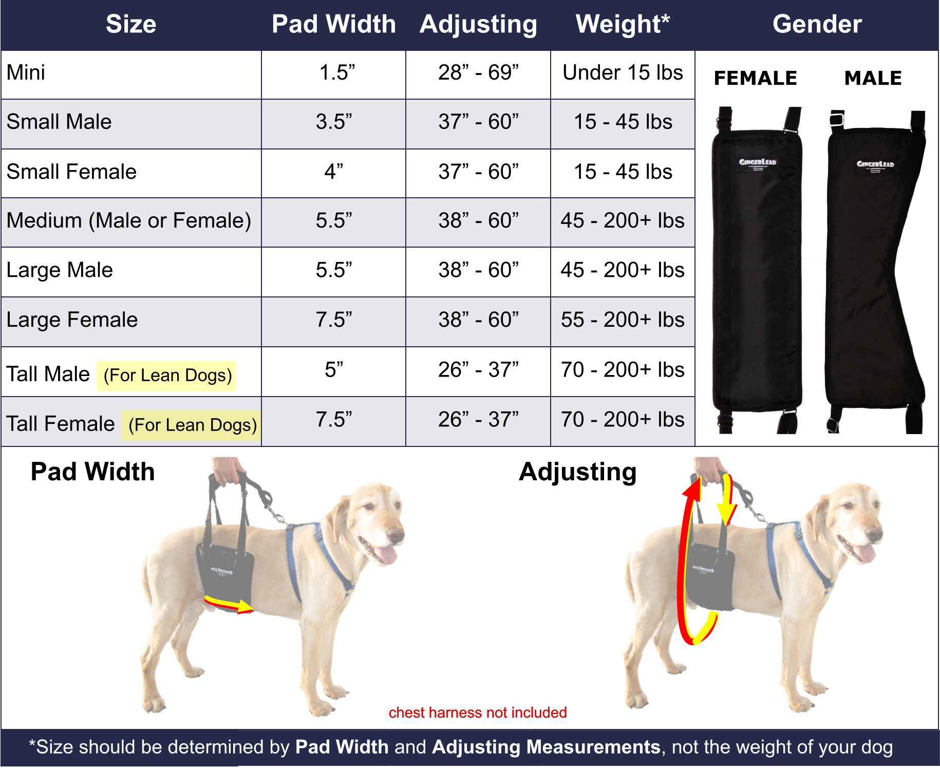 GingerLead Dog Sling Sizing_Chart_w_Images