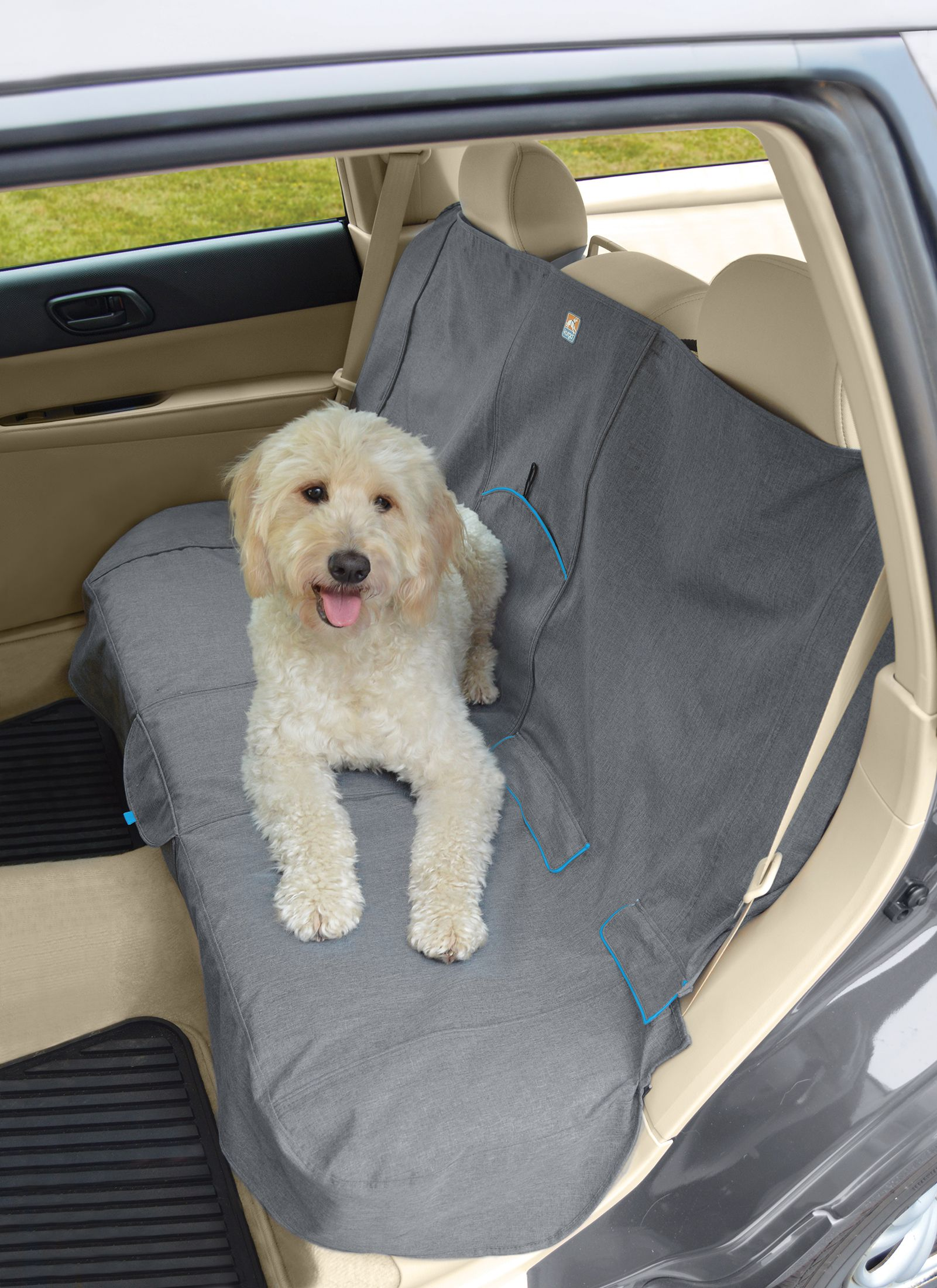 Dog Seat Covers - Kurgo Bench Seat Cover, Heather Pattern, Charcoal Grey