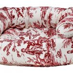 Dog Sofa - Double Donut - Raspberry Toile