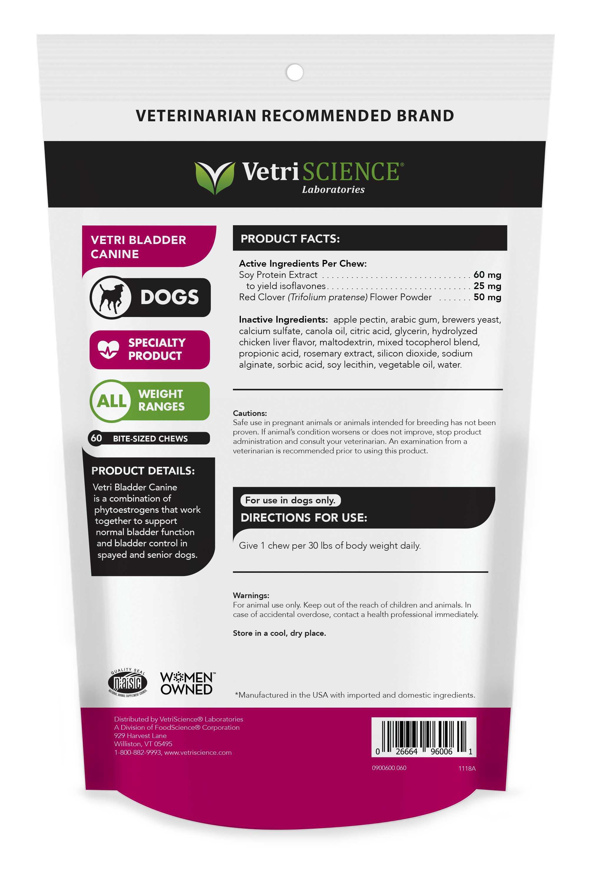 Vetri Bladder Canine - Product Details - Supp. for dog leaking urine